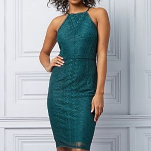 NWOT Le Château Stretch Green Lace Halter Dress